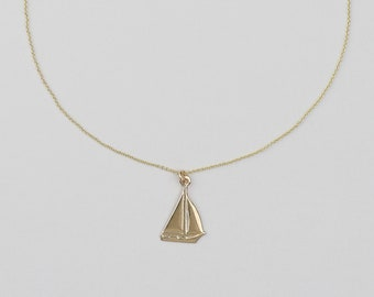 Chain - FILIGREE SAILBOAT - 925 silver gilded/goldfilled, birthday present, delicate silver chain, chain with boat, maritime summer chain