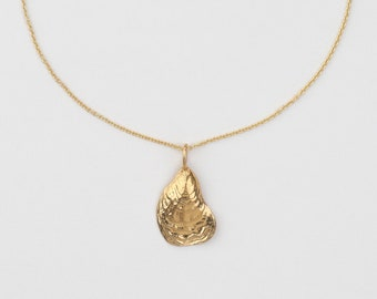 Necklace - SMALL OYSTER, 925 silver gold plated, golden shell necklace, maritime summer jewelry, filigree silver necklace, gift for her him
