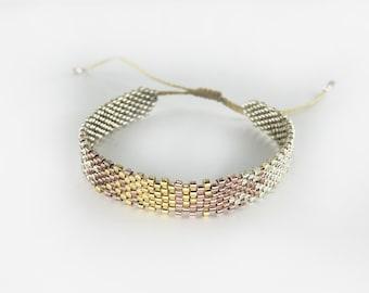 Beaded bracelet - MIYUKI - silver/gold/rosegold, hand threaded, genuine handmade, handmade beaded bracelet, special gift idea for her,