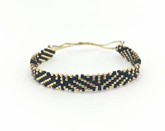 Beaded ribbon - miyuki - black/gold, threaded, handmade bracelet, Japanese beaded ribbon, gift for her, real handmade, for mom