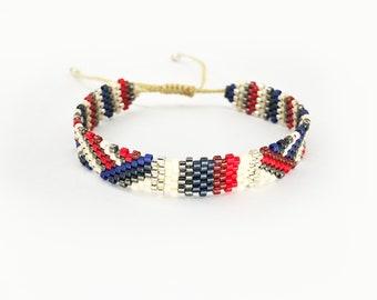 Beaded bracelet - MIYUKI - red white blue silver, threaded, handmade bracelet, Japanese beaded ribbon, gift for her, genuine handmade