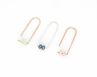 Hoop earrings - OHRHAKEN with stones - silver, goldfilled, rose goldfilled, filigree ear jewelry, gift for her, special gift idea, ear