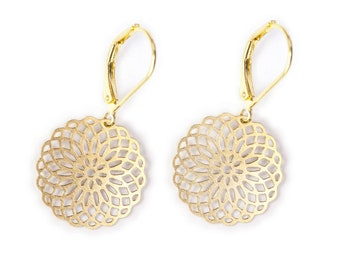 Earrings - round ORNAMENT flower, gold plated