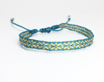 Bracelet, handwoven -FRIENDSBAND, turquoise/white/mustard, colorful summer jewelry, fine fabric ribbon, special gift idea, gift for her