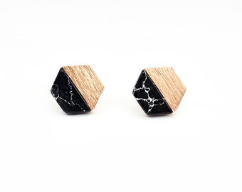 Studs HEXAGON BLACK, rose gold plated