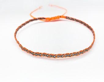 Webband - FUSSKETTCHEN- neon orange/black/silver