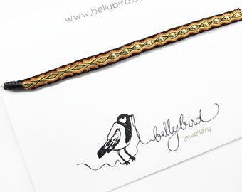 Webband - FUSSKETTCHEN- black/ rust-orange/ gold with silver beads