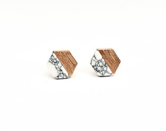 Studs HEXAGON WHITE, rose gold plated