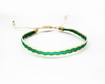 Bracelet - FRIENDSBAND, green/turquoise/mustard yellow/sand - woven fabric band, waterproof bracelet, gift for her, special gift idea