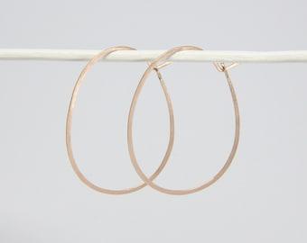 Hoop earrings - OVAL, M Rosé