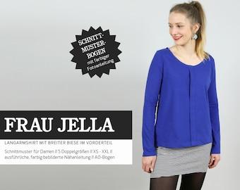 WOMEN JELLA • Long-sleeved shirt with wide bees, PAPIERSCHNITT