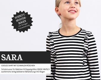 SARA shirt with small ruffles, PAPIERSCHNITT