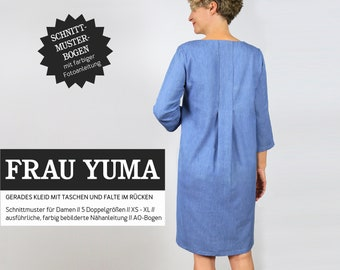 WOMEN YUMA • Dress with back fold, PAPIERSCHNITT