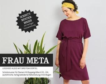 WOMEN META • casual dress with wide belt, PAPIERSCHNITT