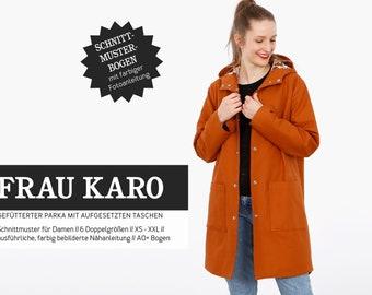 WOMEN KARO • lined parka, PAPIERSCHNITT