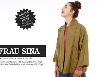 MRS. SINA • Kimono jacket with slanted pockets, PAPER CUT