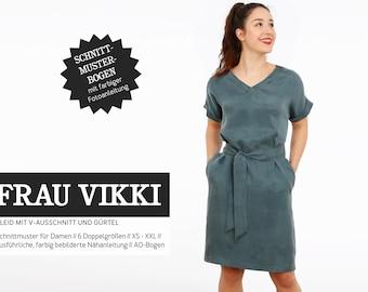 WOMEN VIKKI • loose dress with V-neck, PAPIERSCHNITT