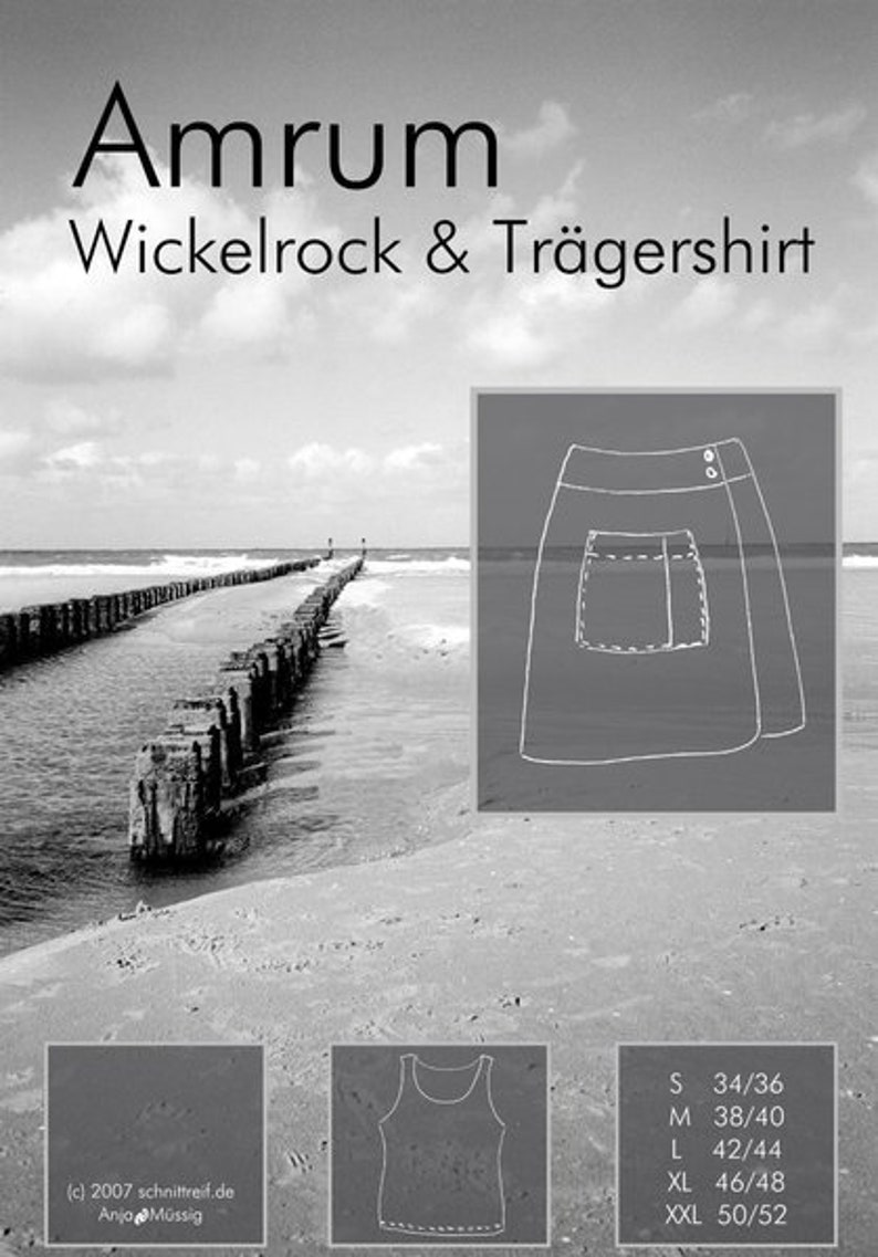Sewing pattern wrap skirt and shirt AMRUM image 0