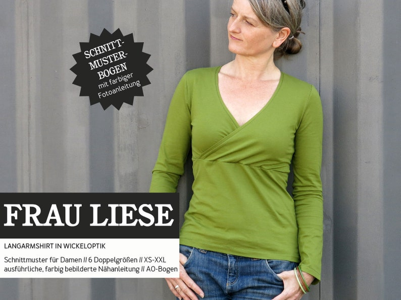 FRAU LIESE shirt with wrap look PAPIERSCHNITT image 0