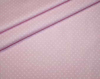 Swafing cotton fabric light pink white dots