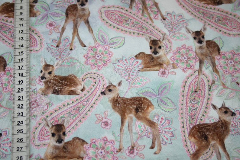 Digital print jersey fabric deer paisley jersey fabric
