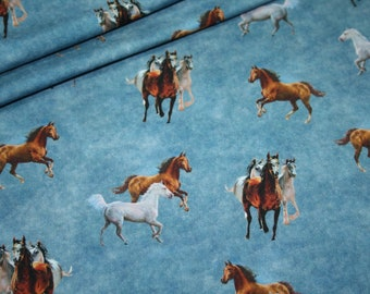 French Terry Jersey Fabric Horses Blue