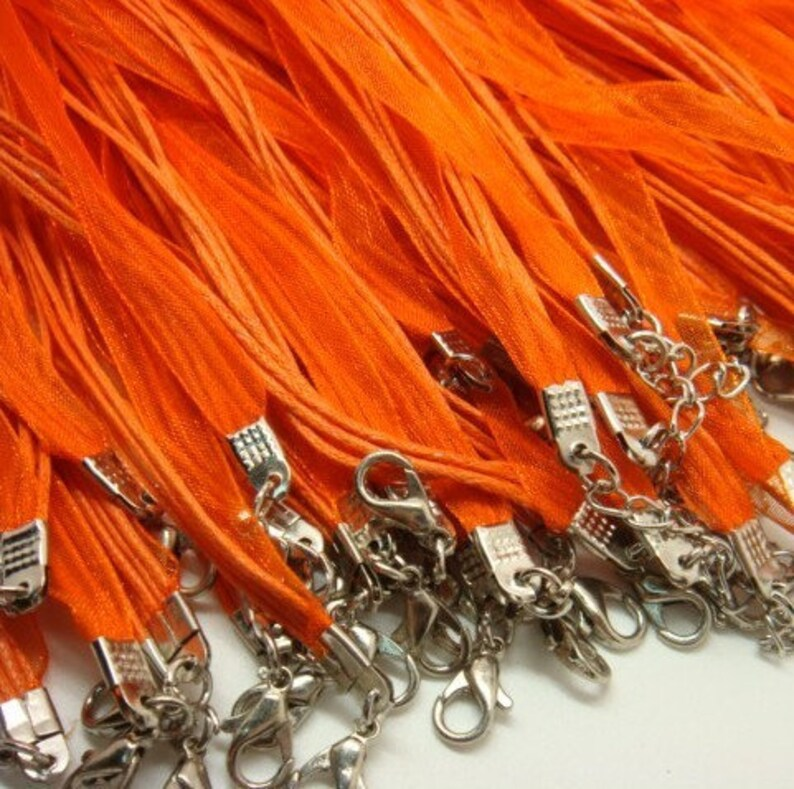 10x organza ribbon necklaces  ORANGE  MAT1946