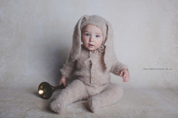 Newborn props Newborn Footed sleeper newborn onesie Bunny outfit Sitter props Bunny hat alpaca outfit Sitter Hand knitted