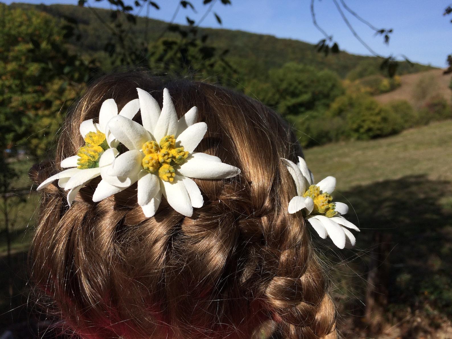 3 Hair Clips Edelweiss