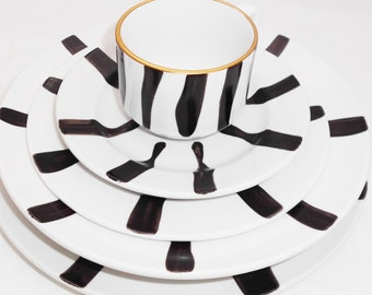 5 Piece Dining/Coffee Set Hand Painted Gold Rim