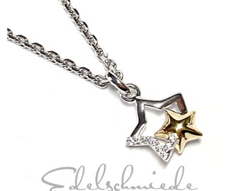 delicate necklace with stars in 925/- sterling silver rhod bicolor 45 cm