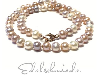 Pearl necklace 585/- red gold multicolored pearls with carabiner 47 cm