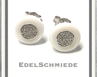 Silver plug with cubic zirconia and white ceramic 925