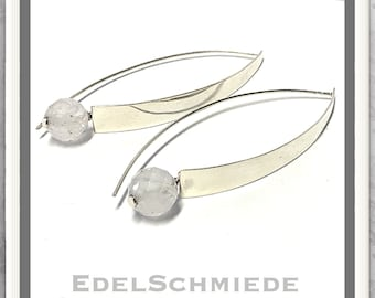 Earrings in 925 silver polished with rock crystal