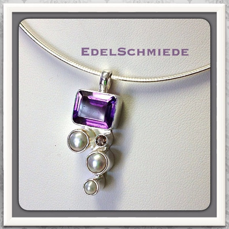 68d6204c4e2af Chain pendant with amethyst and freshwater pearl, 925