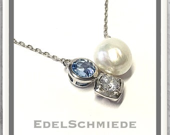 Necklace with Pearl, cubic Zirconia + syn. Blue Topaz 925