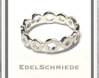 Bandring round circles 925 silver frosted # 56