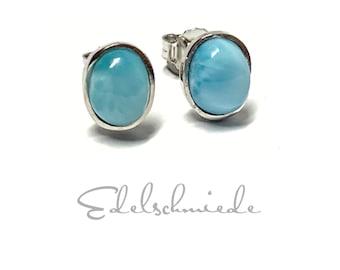 Larimar Earrings 925/- Silver rhod Cabochon oval 6 x 8 mm
