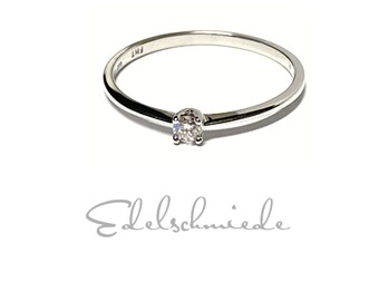 White Gold Ring 585/- with Brilliant 0.07 ct w/si Engagement Ring Classic #56