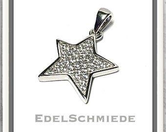 Chain pendant silver 925 rhod. Star with cubic zirconia