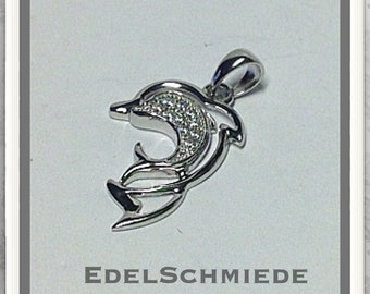 Small dolphin pair in 925 silver as a pendant