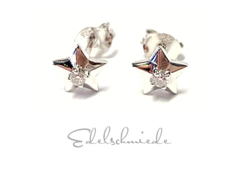 Star Stud Earrings 925 Silver Rhodium Plated with Zirconia Glossy Fine Noble