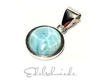 Larimar Pendant 925 Silver Rhodium-plated Cabochon around 11 mm Classic