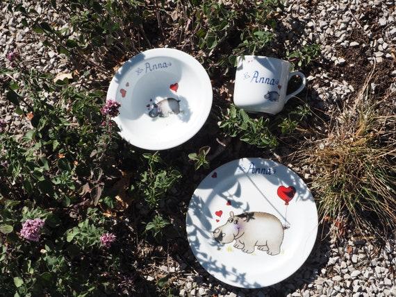 Kindergeschirr Aus Porzellan Nilpferd Herz Und Name Personalisiert Susse Geschenkidee Fur Ostern Weihnachten Einschulung
