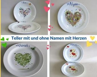 Porzellan Teller mit verschiedenen bunten Herzen für Frühstück, Mittagessen, Suppe. Mit Namen oder ohne Namen, Tolle Geschenkidee für Kinder