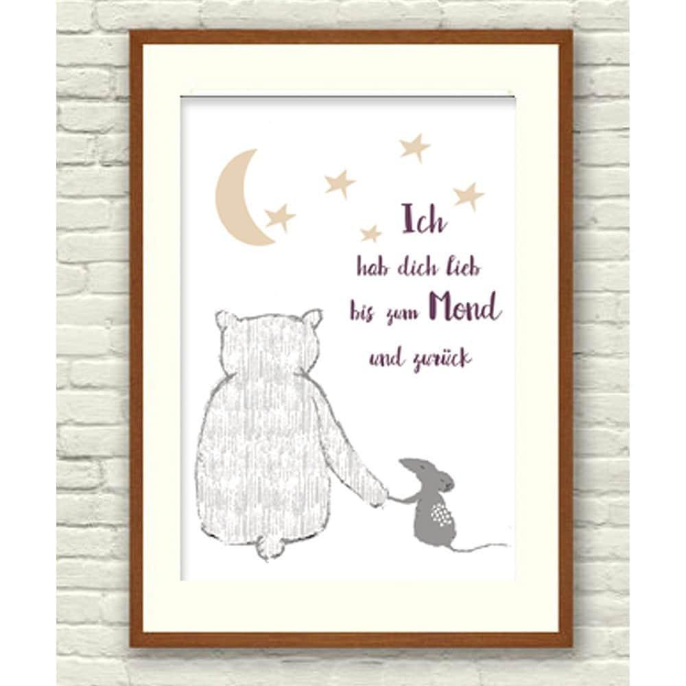 Print Ich hab dich lieb bis zum Mond und zurück Poster | Etsy