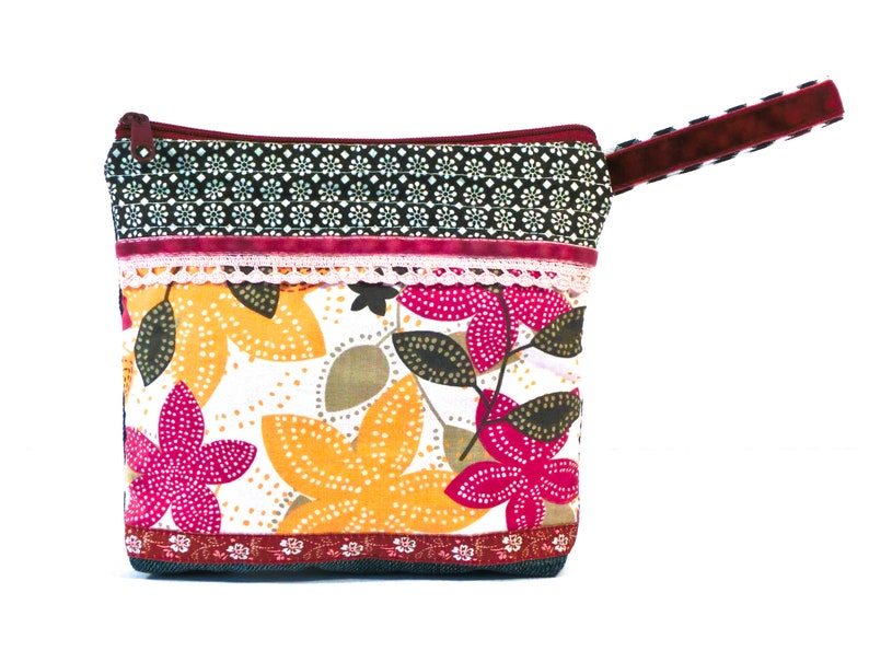 Cosmetic bag Upcycling pattern mix pink yellow black white image 0