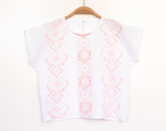 Summer shirt with embroidery, white, 116 122, cotton musselin + linen, upcycling, unique