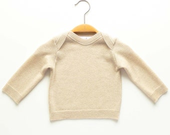 Baby sweater, 100% cashmere, beige, 68 74, upcycling