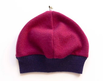 Cashmere cap for children, raspberry red violet, upcycling